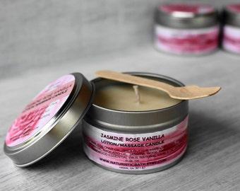 Jasmine Rose Vanilla Lotion - Massage oil Candle, with Luxurious Butters, Argan, Jojoba Oils, Essential Oils, Natural Fragrance, Vitamin E