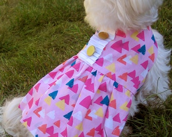 Pink Dog Dress in Triangle Fabric - Pink Dog Clothes  - Summer Dog Dress - Pet Fashion