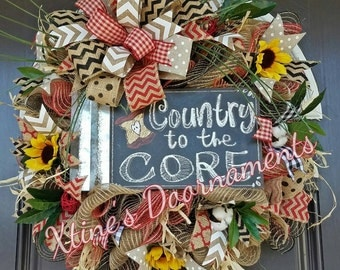 Country Wreath, Country to the Core, Apple Wreath, Summer Door Deco, Summer Wreath, Rustic Wreath
