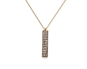 Long Crystal Tag Pendant Necklace