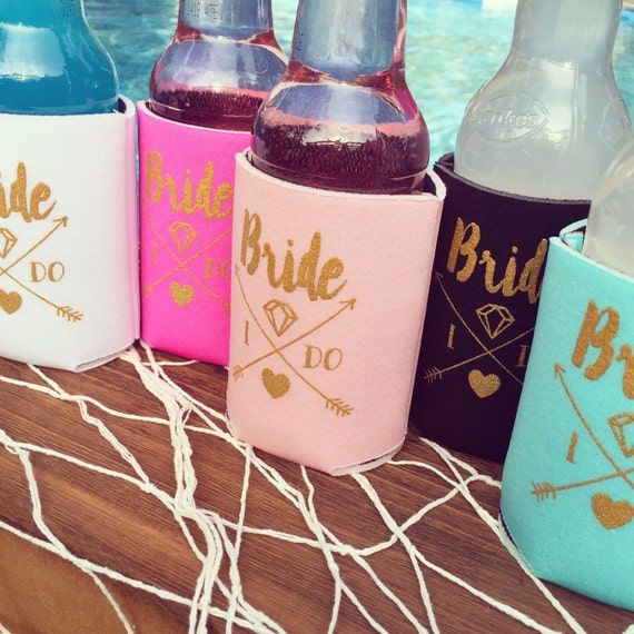 SALE Bride Drink Coolers | Boho Bachelorette Party Favors, Pink + Gold Arrows, Bride Gift, Metallic Gold Drink Coolers, Bottle Can Coolers