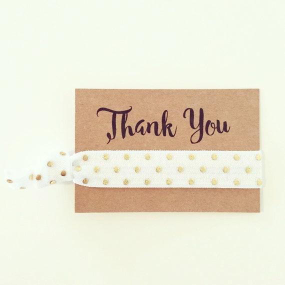 Hair Tie Bridal Shower Favor | White + Gold Dot Hair Tie Favors, White + Gold Polka Dot Hair Tie Favor, Custom Wedding Bridal Shower Favor