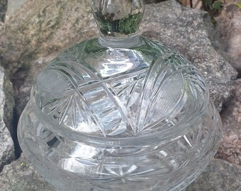 Vintage Cut Glass Trinket Dish/Box with Lid