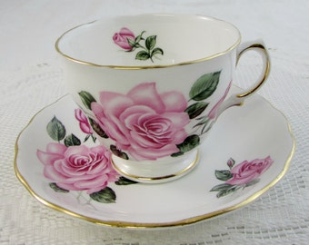 Royal Vale Tea Cup and Saucer with Pink Roses, Vintage Bone China