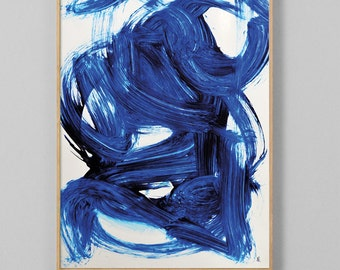 Abstract printable art, Navy blue brush strokes, Modern art prints, Abstract paintings instant download art, larger abstract art