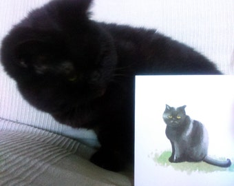 "Lola Peppercorn my black cat painting printed in colour on white greeting card (blank inside) 5""/12.5cm original animal artwork"