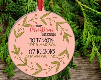 Personalized Christmas Ornament, Family Name Ornament that is double sided