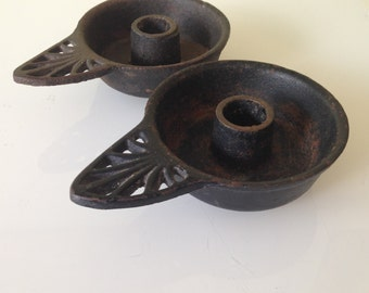 Two Rustic Vintage Black Cast Iron Candleholders Cabin Decor