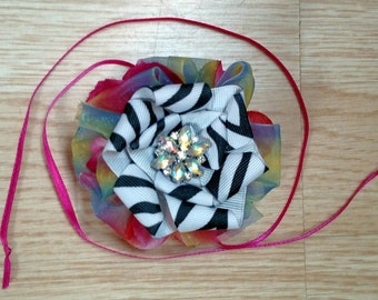 Rainbow, zebra child's wrist corsage with brooch!