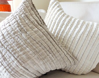 10% OFF Natural Linen Frill Cushion Cover