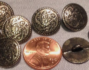 """Lot of 8 Antiqued Silver Tone Metal Shank Buttons 9/16"""" 15mm # 7462"""