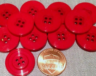 """12 Shiny Bright Red Plastic Sew-through Buttons 3/4"""" 19mm # 7555"""
