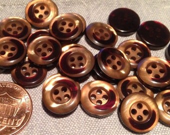 """24 Small Pearlized Gold Brown Red Plastic Buttons Almost 1/2"""" 12mm # 7691"""