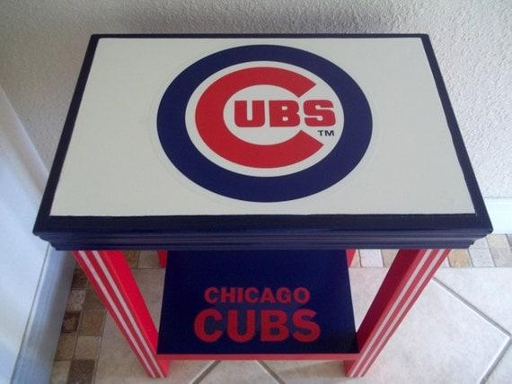 Baseball Man Cave Furniture : Chicago cubs inspired table baseball furniture man cave