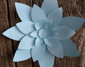 Giant Paper Flower 30cm diameter pale blue pimpernel for wedding decor or photo booth backdrop.  In stock now. 706-029
