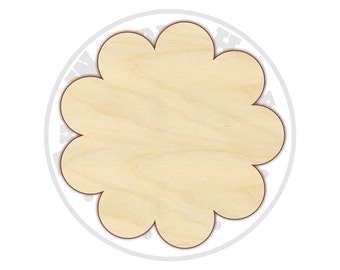 Scalloped Circle Cutout Shapes - Unfinished wood - Various sizes - Wood Craft Shapes - 170209