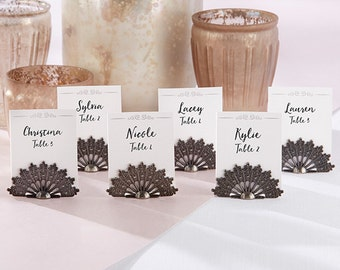 Antiqued Fan Place Card Holder Set of 6 Wedding Placecards Photo Holders Table Card Stands Centerpiece Display Vintage Events Bridal Shower