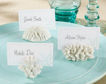 Seven Seas Coral Place Card/Photo Holder Set of 6 Placecards Numbers Table Centerpiece Tropical Aqua Reception Beach Wedding Decorations