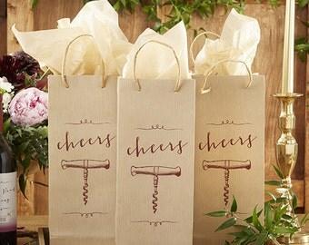 Cheers Wine Bag Set of 12 Woodgrain Print Rustic Chic Country Wedding Bridesmaid Gift Destination Bridal Shower Birthday Bachelorette Favors