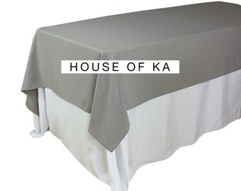 60 X 102 Inches Gray Rectangular Tablecloths, Gray Table Cloths For 6 FT  Tables,