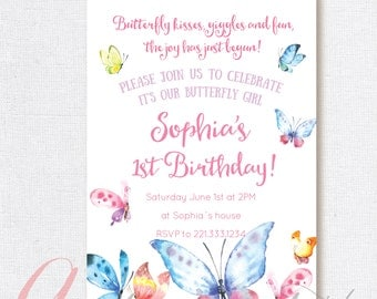 Butterfly Invitation Birthday Party. Butterflies party invitation. Butterfly birthday.Butterfly Party. Printable invitation.