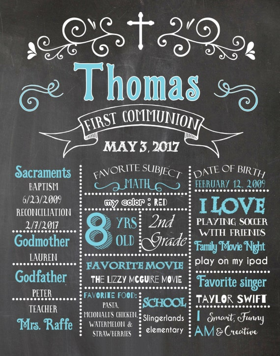 Chalkboard poster. First Communion Poster. First Communion Chalkboard Poster. Boy First Holy Communion. Baptism Chalkboard.