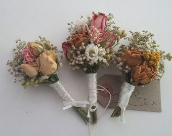 Beautiful ROSEBUD Bespoke Wedding Buttonholes. Made from dried flowers and grasses for a rustic, vintage or country feel. PINK and TWINE