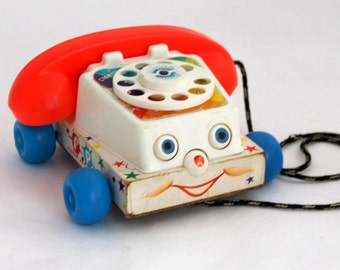 Fisher Price Phone, Chatter Telephone, Original 1961 Vintage Toddler Pull Toy, Retro Rotary Dial, Nursery Decor
