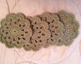 Handmade Beige Crocheted Coasters (Set of 4)