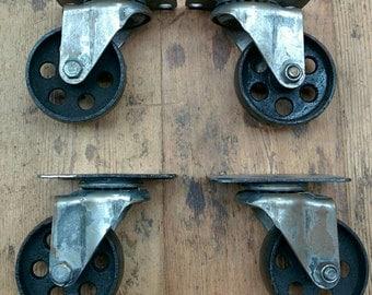 Vintage Industrial cast iron castor wheel casters