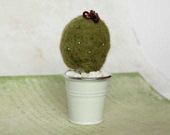 Needle felted pin cushion, felt art cactus, all occasions decor present