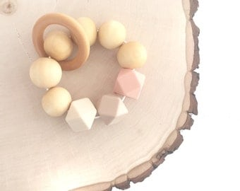 Wooden and Silicone Bead Teether, Teething Toy, Teething ring, Teething Bracelet, Peach, Oatmeal and Beige.