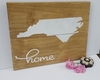 NC Silhouette sign, Home sign, North Carolina sign, housewarming gift, State silhouettes