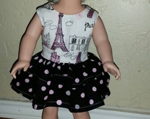 "MADE TO ORDER: 18"" American girl doll Eiffel tower, Paris Boutique style party dress with matching Eiffel tower felt shoes. Pink & black."
