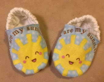 You are my sunshine baby booties, crib shoes, infant, slippers, sun, precious