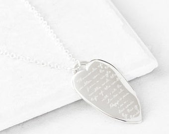 Silver Heart Quote Necklace, Silver pendant, silver quote pendant, message necklace, engraved pendant, quote necklace,