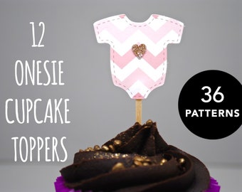 12 x Onesie Cupcake Toppers with Glitter Heart