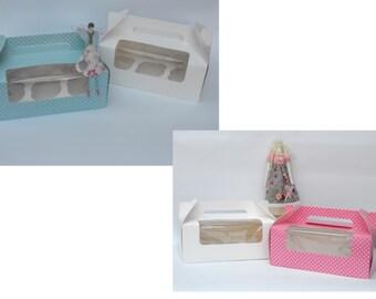 Duck-Egg or Pink & White Polka Dot Medium (holds 6)  Fairy Cake/Cupcake Boxes (Pack of 2)