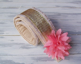 DSLR Burlap and Gold Camera Strap Cover -DSLR Camera Strap Cover- Cream-Coral Flower-Embellished-Birthday Photographer Gift