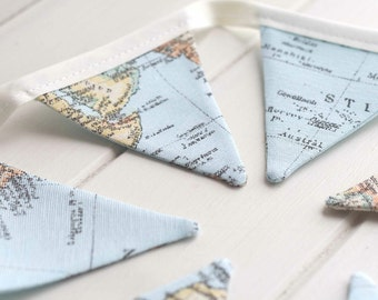 Vintage World Map Mini Bunting