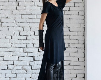 Black Long Top / Asymmetrical Loose Tunic / Extravagant Black Tunic /Tunic Dress /Summer Black Dress / Short Sleeve Long Top by METAMORPHOZA