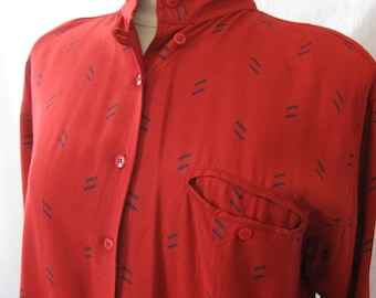 vintage womens button down shirt; deep red with abstract pattern; 80s vintage shirt; 80s button down; gabardine style shirt; womens vintage