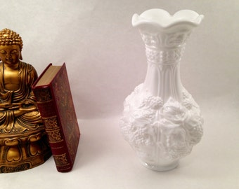 Imperial Fluted Vase,loganberry,ornate,milk glass,white glass,scalloped vase,gift for her,girlfriend,wedding,anniversary,gifts,centerpiece