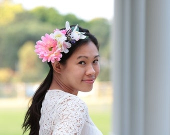 Pink Gerberas, Cream Hydrangrea and white Cymbidium Orchid Flower Crown for Weddings Bridal Bridesmaid Hens