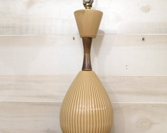 Mid Century Modern Table Lamp, Ceramic and Wood Mid Century Modern Lamp, Teak Wood Danish Lamp