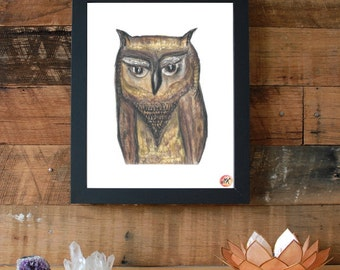 Owl Spirit Animal Symbol Giclee Fine Art Print