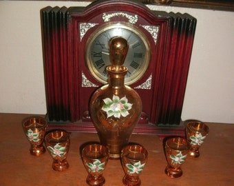 Vintage Italian Enameled Decanter Set with 6 Cordial Glasses