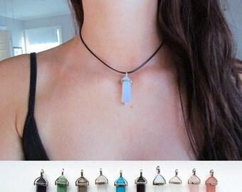 Hexagonal Crystal Choker Pendant Necklace On Black Cord