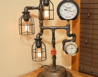 Steampunk Lamp Industrial Machine Age Light Heavy machine gears Iron gauges #066