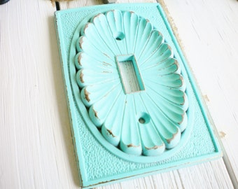 Shabby Chic Light Switch Cover, 1 Way Light Switch Plate Cover, Vintage Repurposed In Aquamarine Wall Decor Beach ,Price For 1